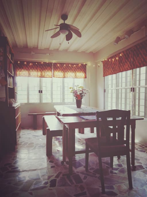 This dining room doubles as a working/studying/meeting area.