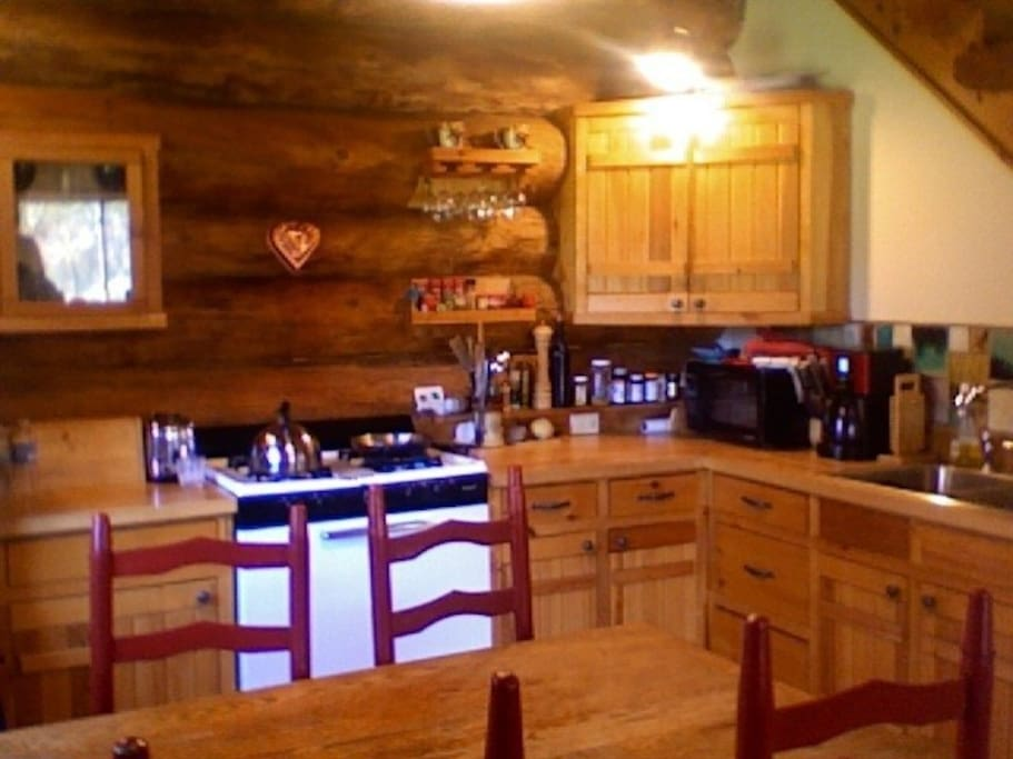 Kitchen with hand crafted cabinets.