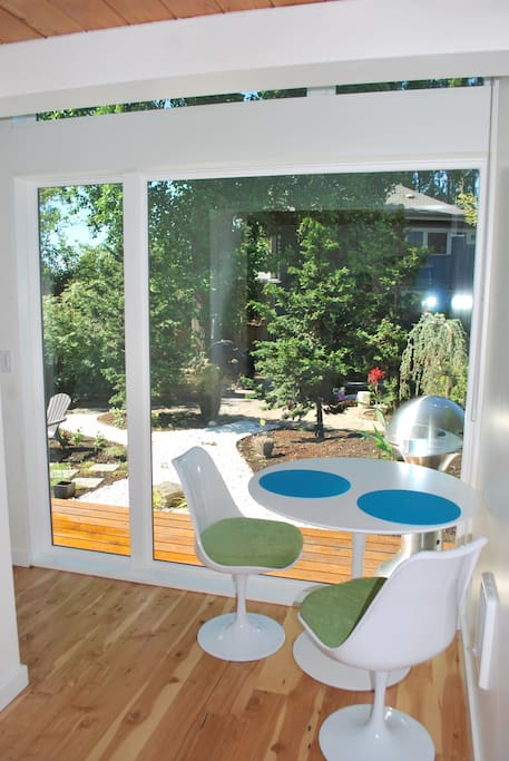 Sitting space with view of garden