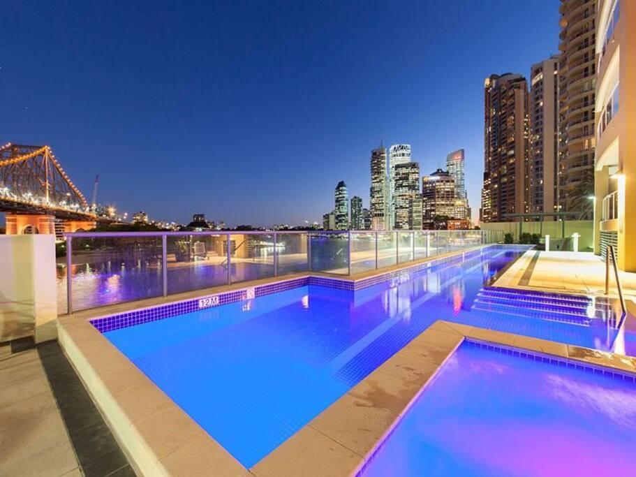 Swimming pool +Hot Tub Night Time