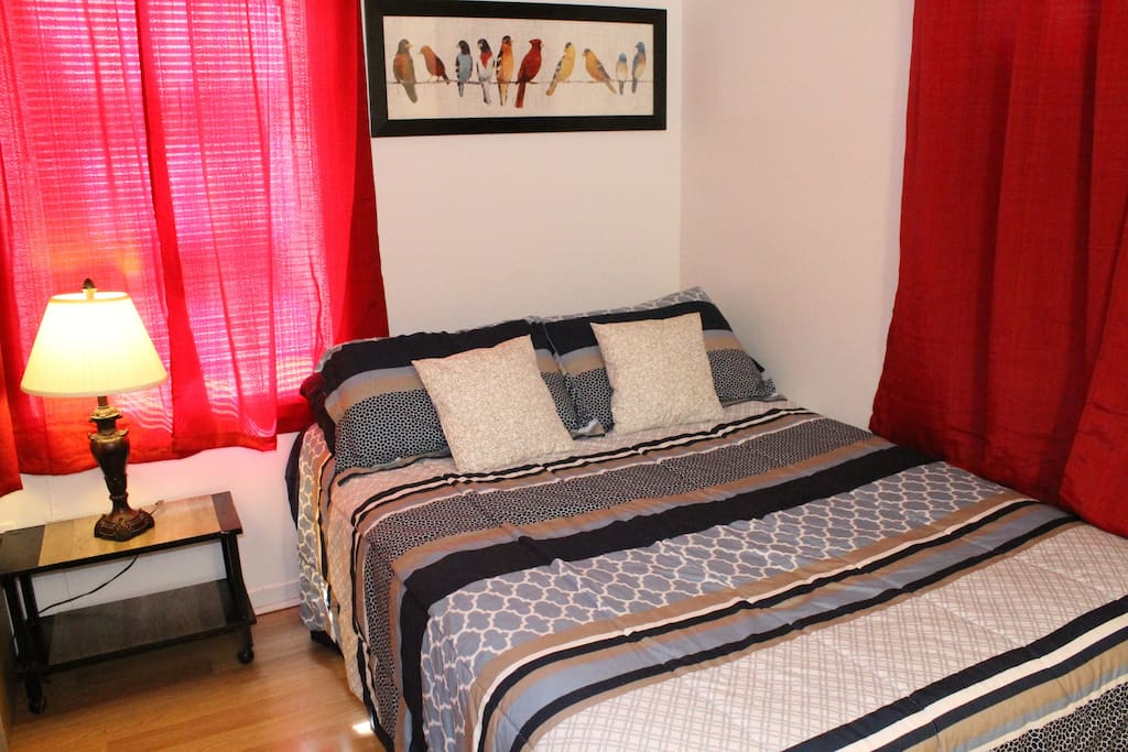 This Bedroom offers a Double Bed and plenty of storage space is offered in the closet