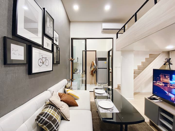 8897 Cozy Loft 5min to MRT/Rama9/Airline/Asok/中文房東