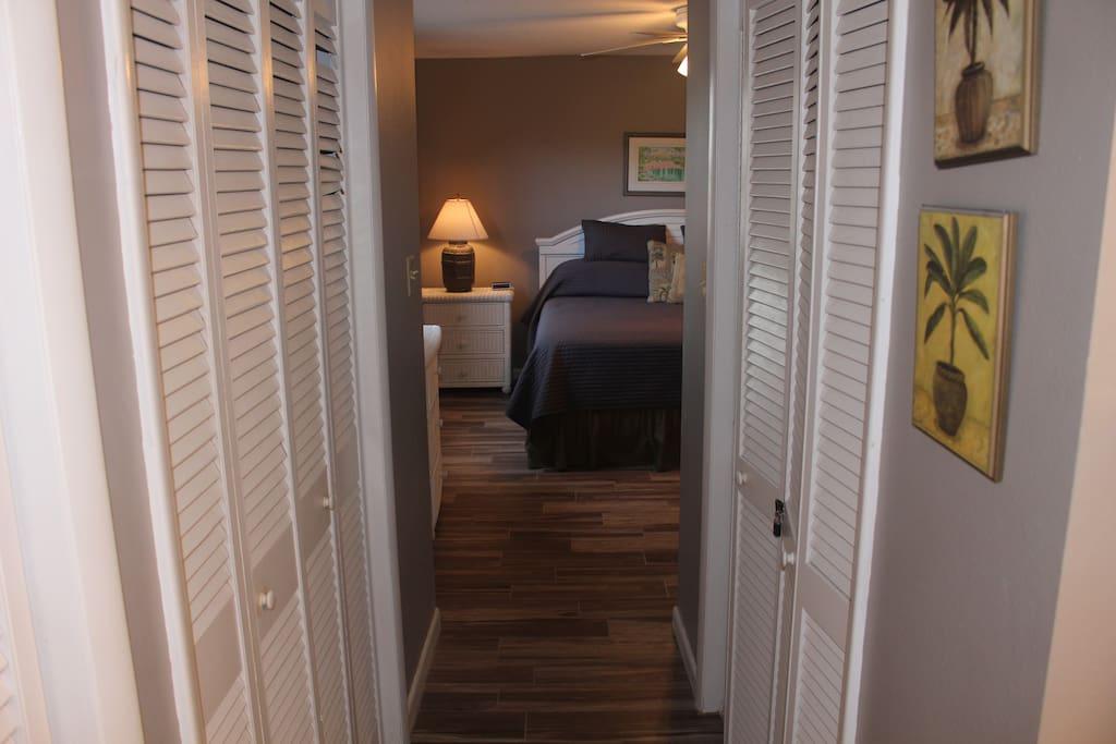 En Suite bathroom looking into master bedroom