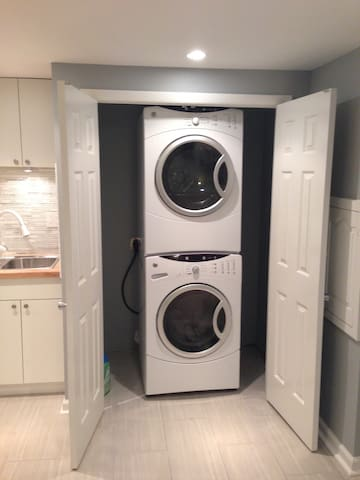 Full size washer and dryer with laundry supplies(soap)