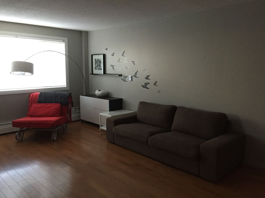 Living room. Red chair was replaced with chaise.