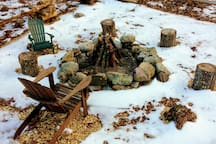 Stone fire pit ready and waiting!