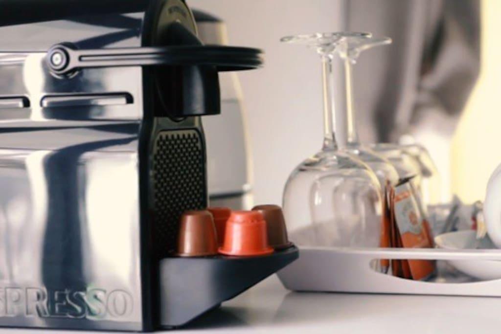 Nespresso machine with daily coffee pods