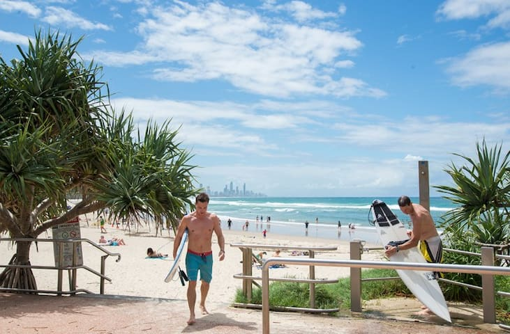 Great surfing beaches out front and down the coast to Burleigh Heads (the point) only a 10 minute drive.