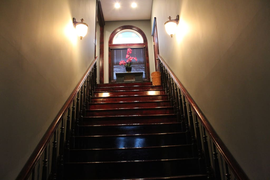 The first thing you see when you enter the home.  The amazing stairway!
