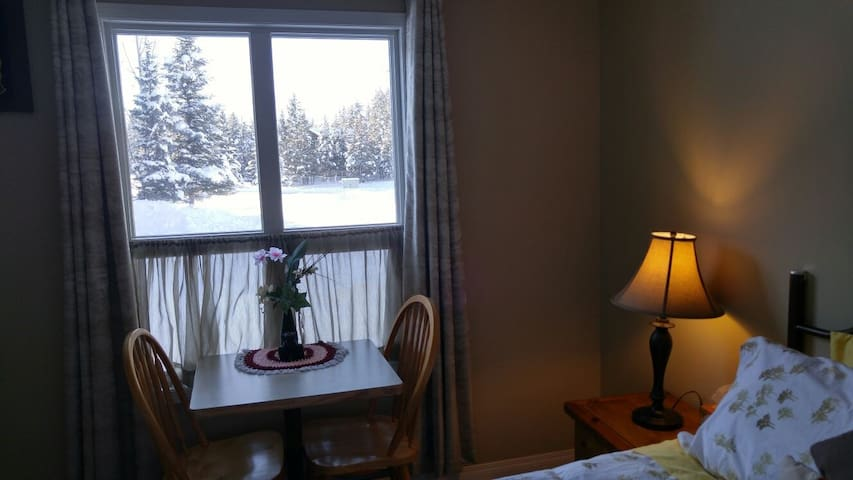 The gorgeous winter view! The window side table & chairs  help you to sit down and watch the wonderful seasonal views. Added for your comfort & enjoyment when you need to use your laptop or ipad or just catching up with your reading!