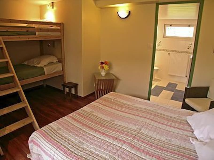 1 chambre de 4 personnes et la salle d'eau (douche)