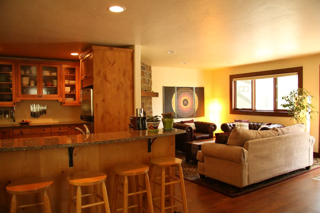 Living space: kitchen, living room and chimney