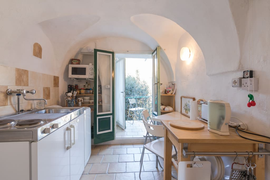 The kitchen has all you need for a lovely holiday.