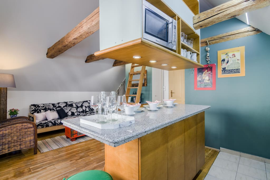 Do you have taste for some glass of wine, cup of coffee or you want to warm some meal for a dinner? Everything is possible in our small but practical kitchen.