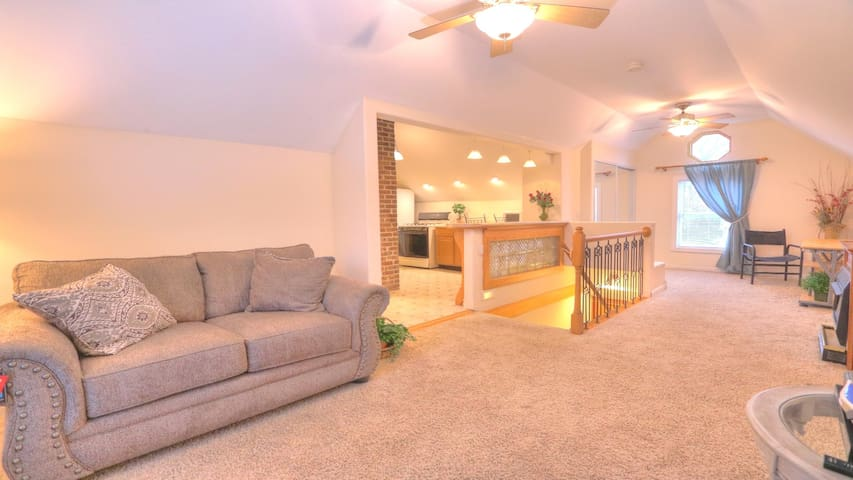 Fully furnished with new reclining leather loveseat, desk, two chairs, fireplace, large TV connected to internet & wi-fi