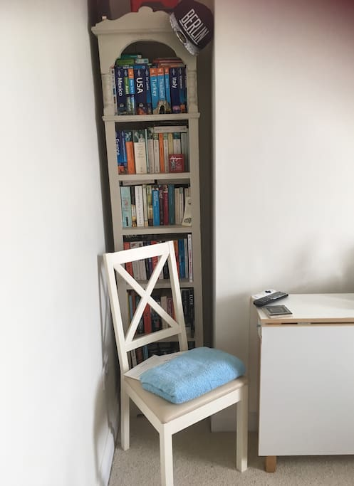 Travel books, chair & drop leaf table for working/study if needed