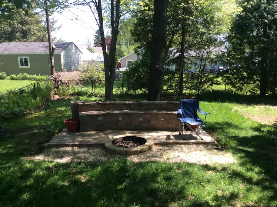 Fire pit area in backyard
