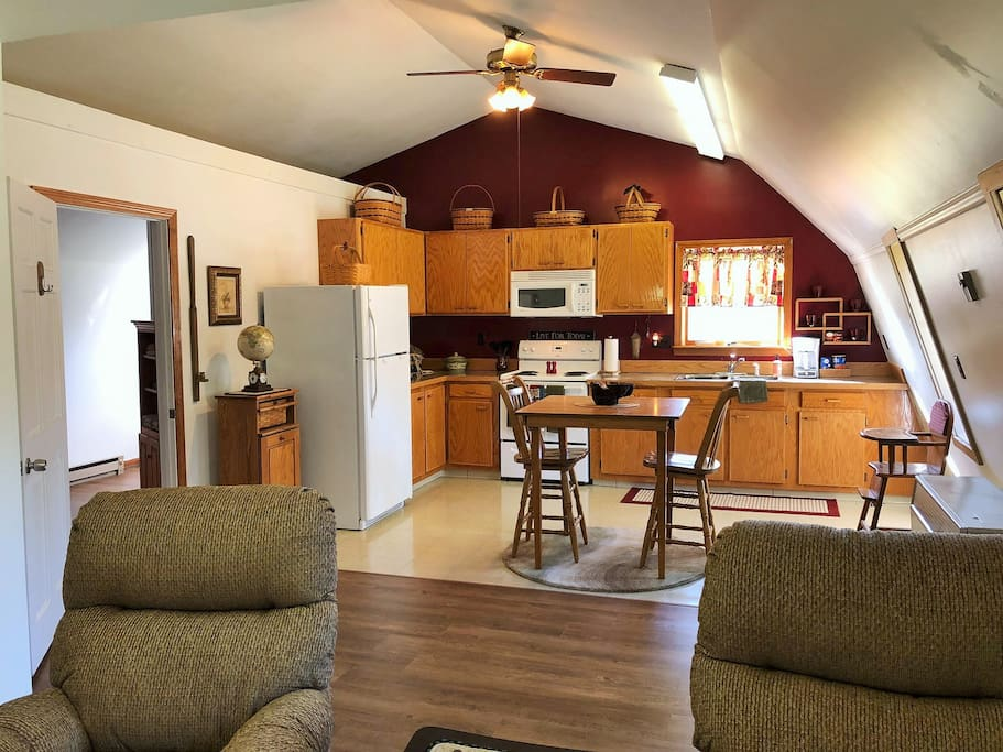 Open living space with fully equipped kitchen