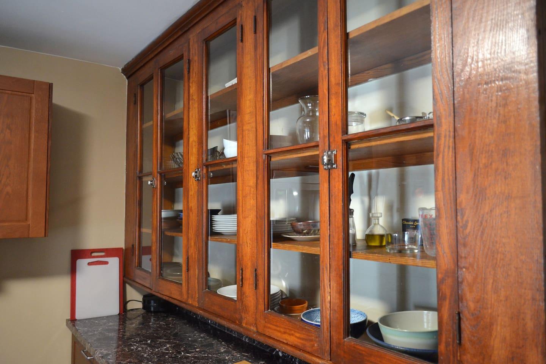 Plenty of storage, unique cabinets.