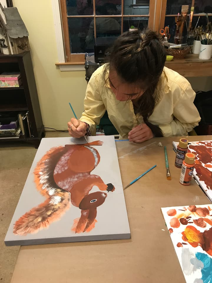 Emily painted a red squirrel!