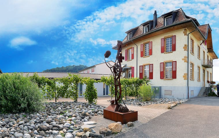 Boutique hotel with art exhibition at Lake Murten - Bas-Vully - Boetiekhotel