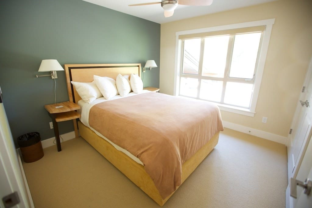 The second  bedroom includes a plush queen bed