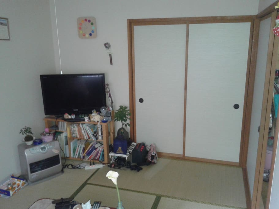 Traditional Japanese room with table and tatami mats different angle