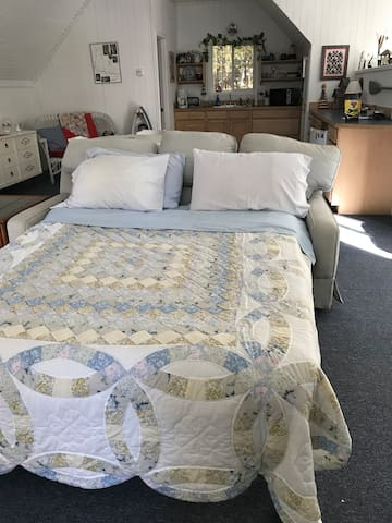 Two queen sofa beds and a single bed.