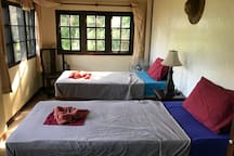 Bedroom ground floor with two movable single beds...