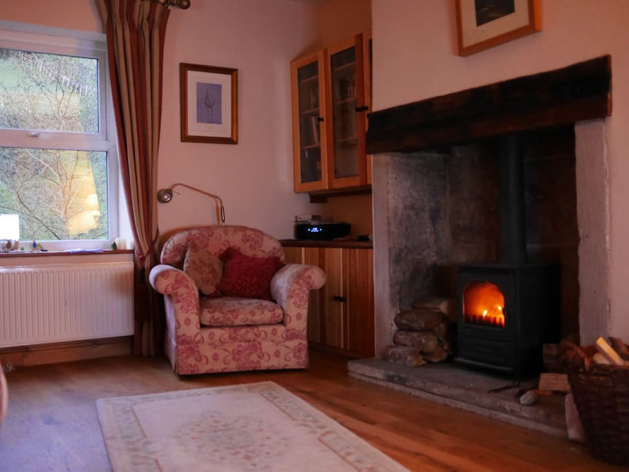 A cosy lounge with a lovely wood burner