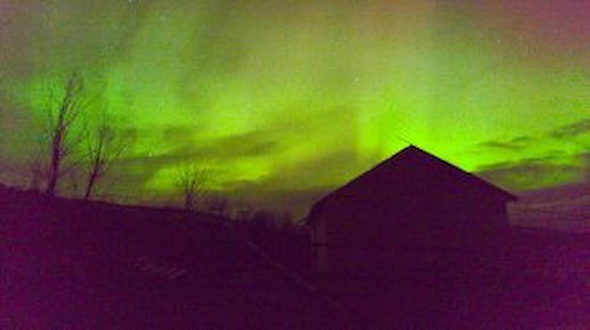 Northern lights (Aurora Borealis), seen from An Nead, whilst it was being built. A great place for dark sky watching.