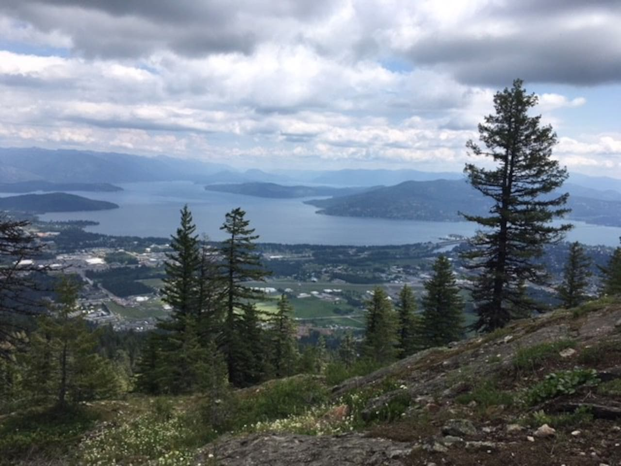 Aerial view of Sandpoint from a trail lookout. This trailhead is a 5-minute drive from my downtown home.