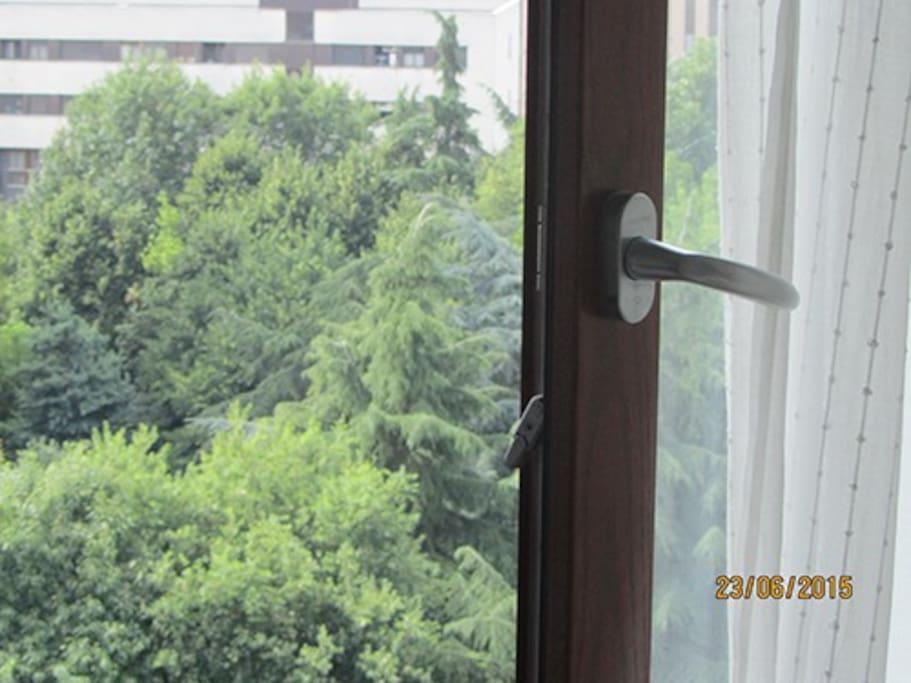 piacevole vista su parco verde dal decimo piano
