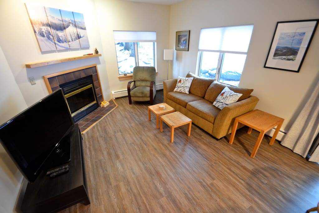 Open living area.  Large TV.  Cable, DVD Player & private Wi-Fi.