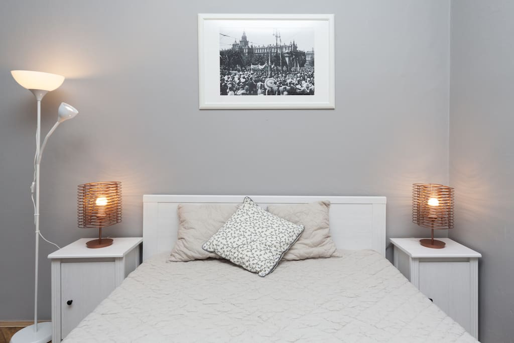 double bed with IKEA Sultan mattress; sofa bed