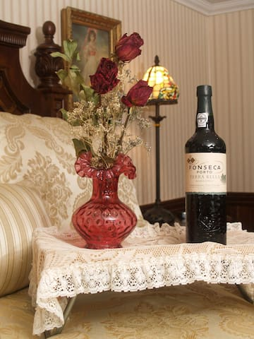 Complimentary bottle of wine for Valentines Day or anniversaries.  Please let us know beforehand if it's you anniversary.