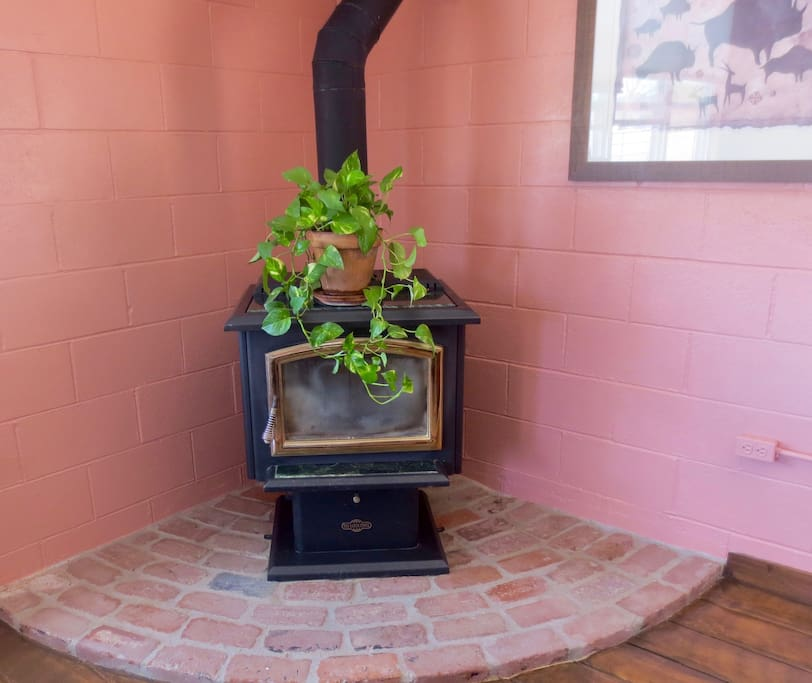 Wood stove adds cozy comfort in cold weather.