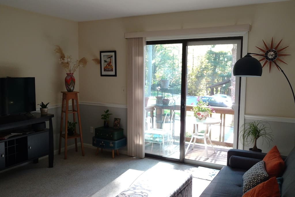 """Living room has 40"""" Roku TV with multiple free apps plus Netflix access and a lovely green Southwesterly view out between other buildings in the community."""