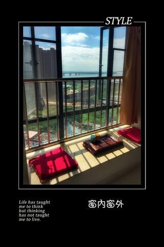 位于南沙旧镇的高层海景房,一室一卫,可从具有现代感洋房中观看日出和海景
