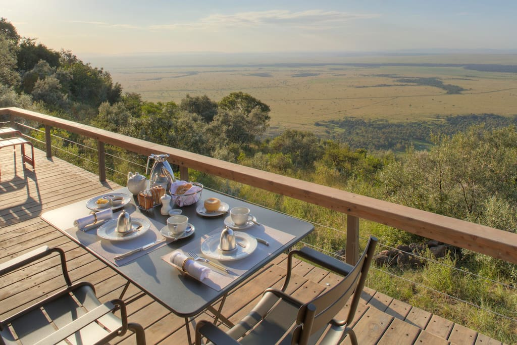 Breakfast on the deck of your own tent