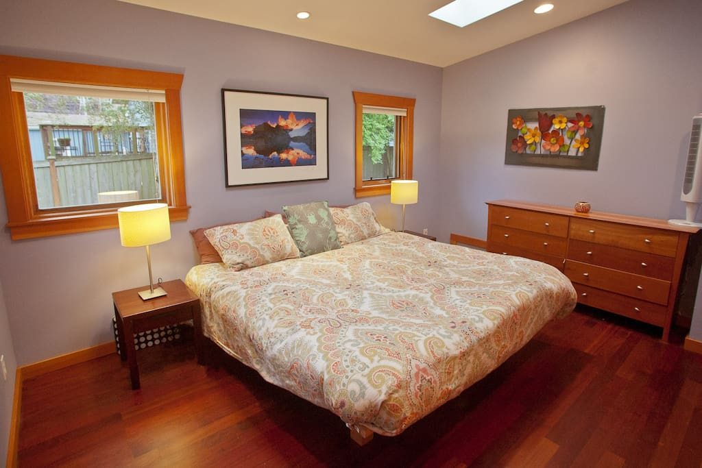 A spacious master bed with Brazilian hardwoods and California closet is your sanctuary.
