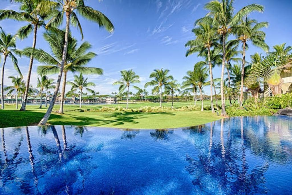 Beautiful swimming pool with amazing views over the golf course looking toward the ocean.