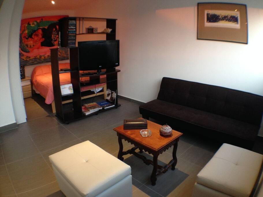 Una pequeña sala con un sofá cama que se convierte en cama si fuera necesario
