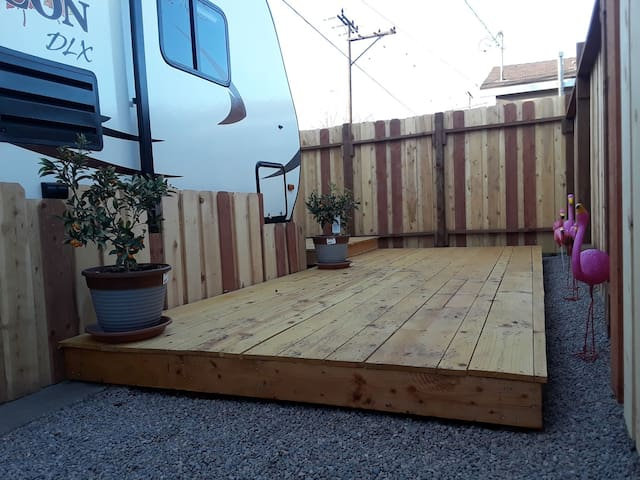Your trailer in a private pocket yard.