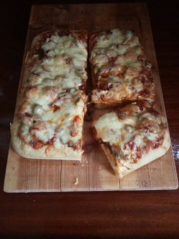 Home-made deep pan pizza