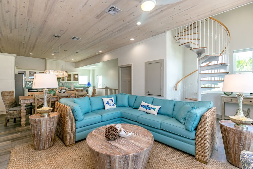 A comfortable couch offers seating in the living room
