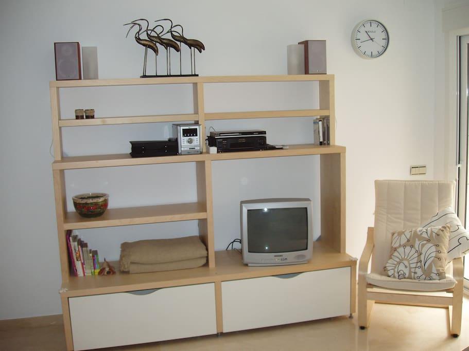 TV corner with video and HiFi chain.