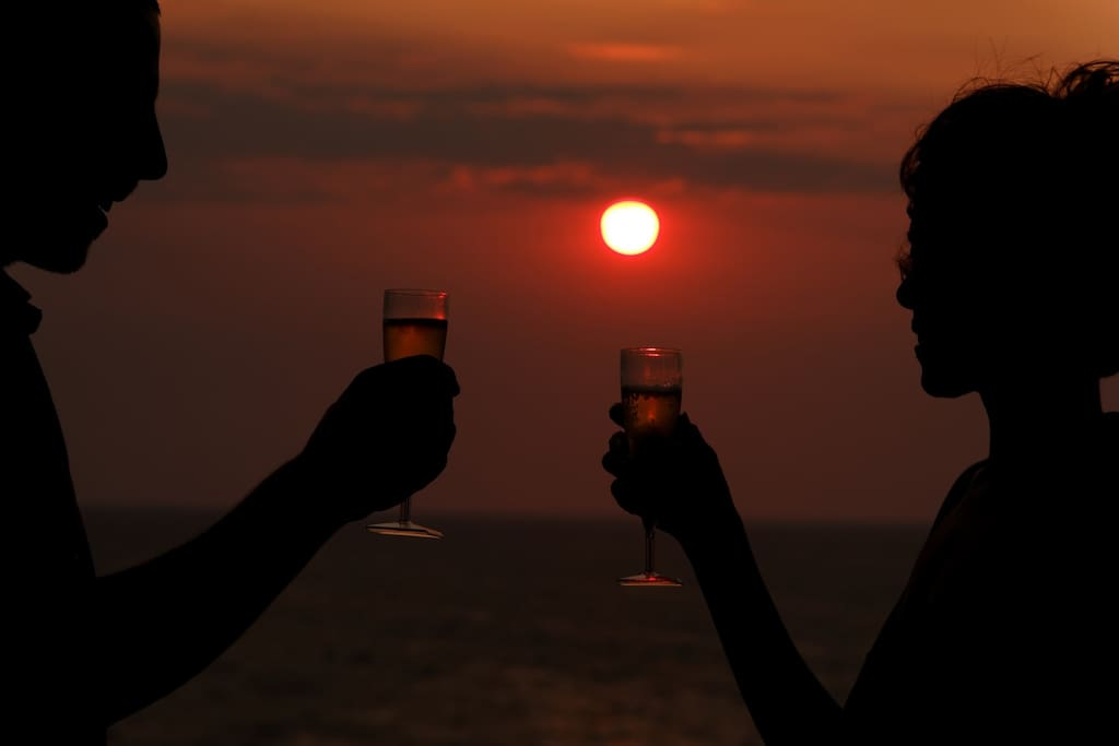 coucher du soleil vue sur terasse