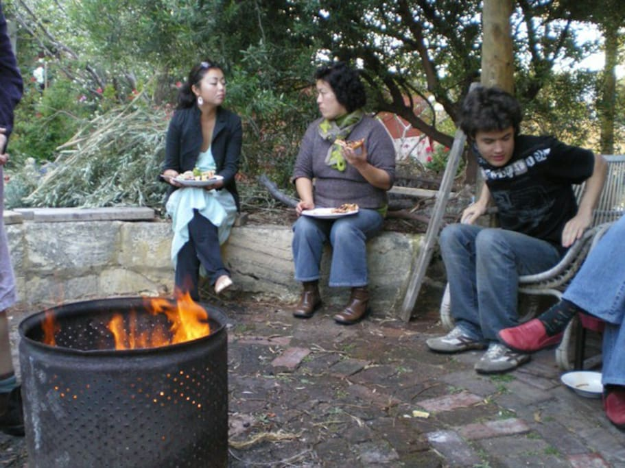 Meeting with friends at the fire pit - our favourite place :)