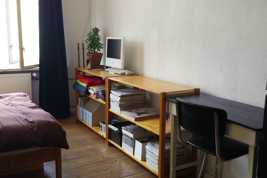 small worktable, some shelves for your stuff